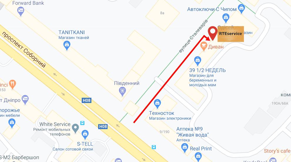 Карта, как к нам добраться г.Запорожье, ул.Сталеваров 7
